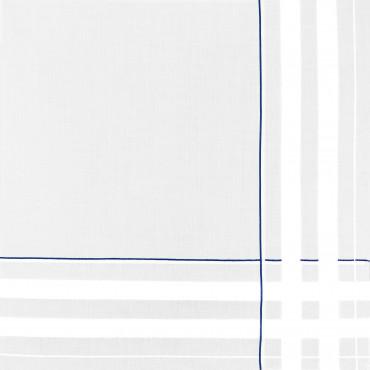 Sangallo blu- fazzoletti di cotone da uomo con incroci di spesse righe di raso e righe colorate e Orlo a Mano