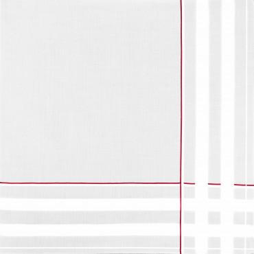 Sangallo rosso - fazzoletti di cotone da uomo con incroci di spesse righe di raso e righe colorate e Orlo a Mano