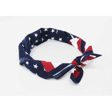 Arrotolata - USA - bandana di cotone con bandiera americana vintage stampata