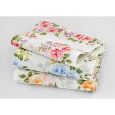Varianti - Giulia - fazzoletti di cotone da donna con stampe di rose su fondo avorio
