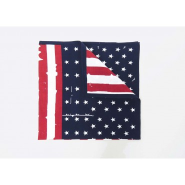 Dettaglio - USA - bandana di cotone con bandiera americana vintage stampata