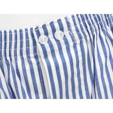 Dettaglio - Kent - Boxer da uomo in cotone a righe bianche e blu
