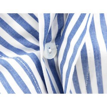 Dettaglio bottoni - Kent - Boxer da uomo in cotone a righe bianche e blu