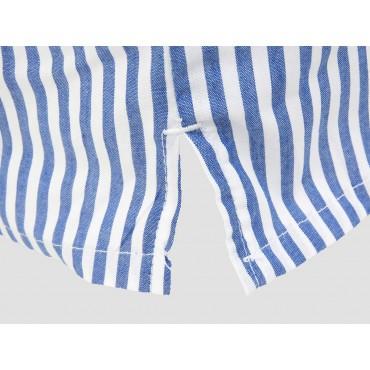 Dettaglio spacco - Kent - Boxer da uomo in cotone a righe bianche e blu