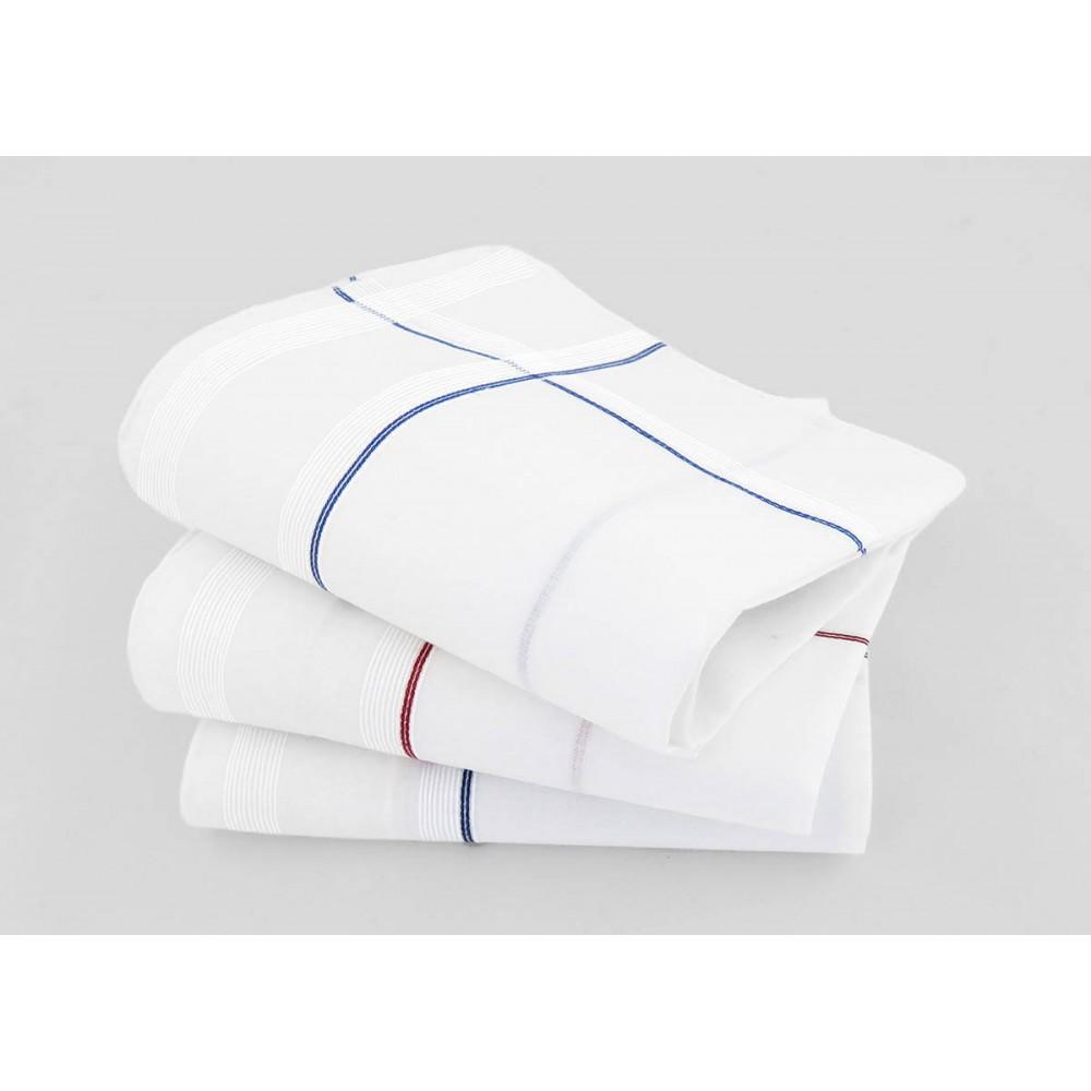 Varianti - Sangallo - fazzoletti di cotone da uomo con incroci di finissime righe di raso e righe colorate e Orlo a Mano