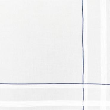 Variante blu - Sangallo - fazzoletto di cotone da uomo con incroci di finissime righe di raso e righe colorate e Orlo a Mano