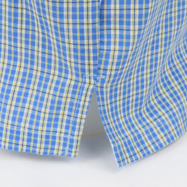 Spacchi laterali - Kent - Boxer da uomo in popeline a quadretti azzurri e gialli - 100% cotone