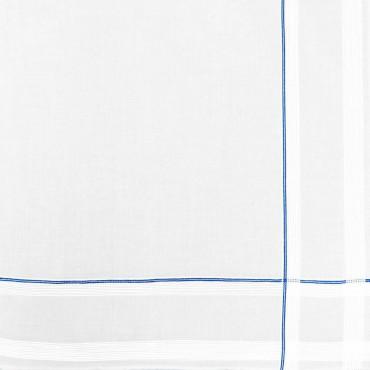 Variante azzurra - Sangallo - fazzoletto di cotone da uomo con incroci di finissime righe di raso e righe colorate e Orlo a Mano