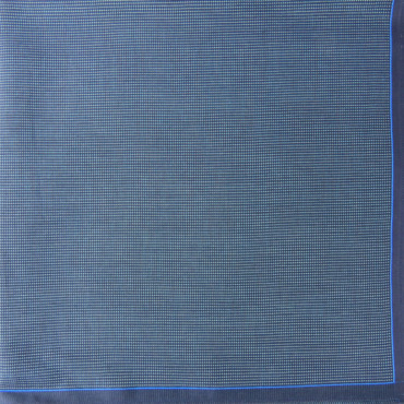 Scozia - fazzoletti fantasia micro-quadretti con bordo bicolor - blu