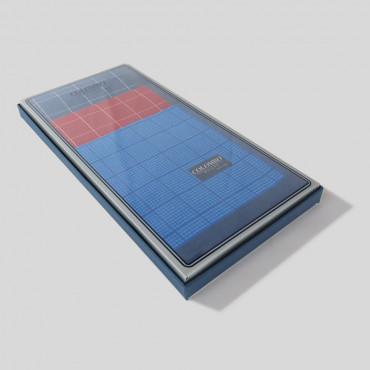 Scozia - fazzoletti a quadretti con bordo blu - scatola laterale