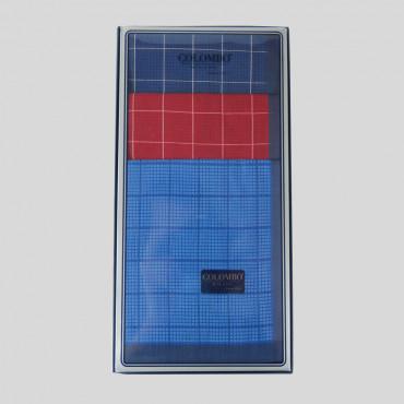 Scozia - fazzoletti a quadretti con bordo blu - scatola frontale