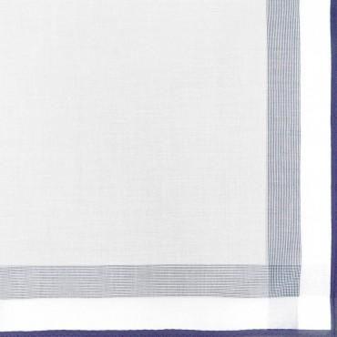 Variante blu - Parigi - fazzoletto di cotone da uomo con una spessa riga di raso e bordi colorati e Orlo Roulè