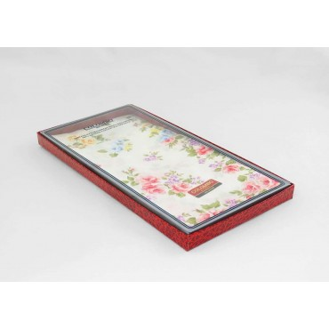Side box - Giulia - handkerchiefs with rose prints on an ivory background