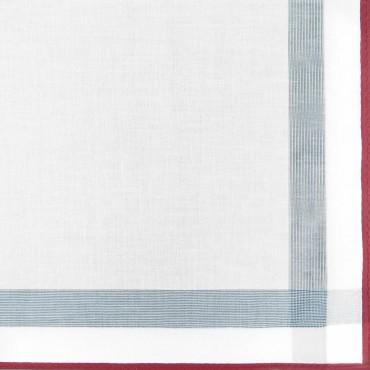 Variante rossa - Parigi - fazzoletto di cotone da uomo con una spessa riga di raso e bordi colorati e Orlo Roulè