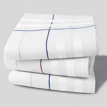 Sangallo varianti - fazzoletti con spesse righe di raso e Orlo a Mano