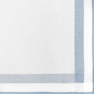 Variante azzurra - Parigi - fazzoletto di cotone da uomo con una spessa riga di raso e bordi colorati e Orlo Roulè