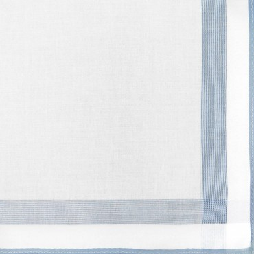 Parigi rigato - handkerchiefs with colored border and rolled hem side box light blue detail