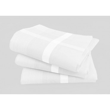 Oxford - white handkerchiefs with fine satin stripes and rolled hem