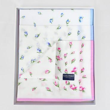 Grazia dozzina- 12 fazzoletti con pioggia di fiorellini scatola aperta