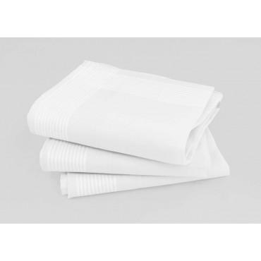 Varianti - Manhattan - fazzoletti di cotone bianchi da uomo con righe di raso finissime e Orlo a mano