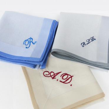 Versailles colorato -  custom embroidered pastel handkerchief