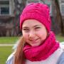 Cappello e sciarpa ad anello fucsia con lurex e strass - 8/14a indossato