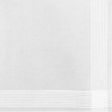 Dettaglio - Manhattan - fazzoletto di cotone bianco da uomo con righe di raso finissime e Orlo a mano