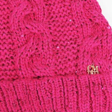 Cappello e sciarpa ad anello fucsia con lurex e strass - 8/14a dettaglio