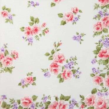 Pink colorway - Giulia - handkerchiefs with rose prints on an ivory background