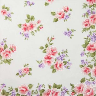 Variante rosa - Giulia - fazzoletti di cotone da donna con stampe di rose su fondo avorio