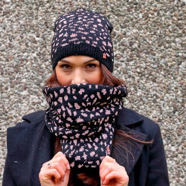 Cappello e sciarpa animalier con lurex