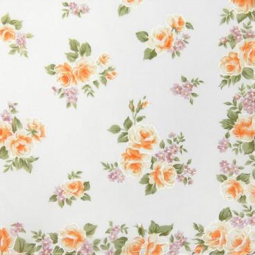 Variante arancio - Giulia - fazzoletti di cotone da donna con stampe di rose su fondo avorio