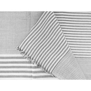 Piegata - Sciarpe primaverili estive - sciarpa foulard a righe bianche e grigie