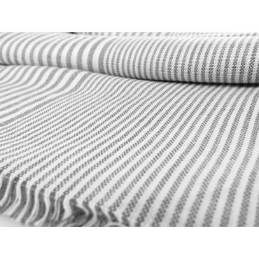 Dettaglio - Sciarpe primaverili estive - sciarpa foulard a righe bianche e grigie