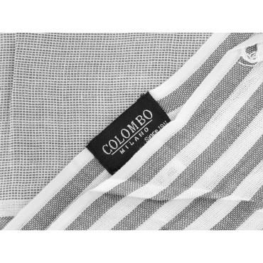Etichetta - Sciarpe primaverili estive - sciarpa foulard a righe bianche e grigie