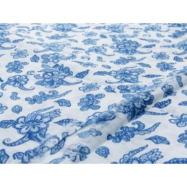 Dettaglio - Sciarpe primaverili estive - sciarpa foulard di cotone bianca a fiorellini blu