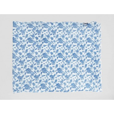 Small blue flowers on white scarf - 100% cotton open