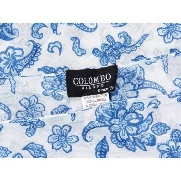 Etichetta - Sciarpe primaverili estive - sciarpa foulard di cotone bianca a fiorellini blu