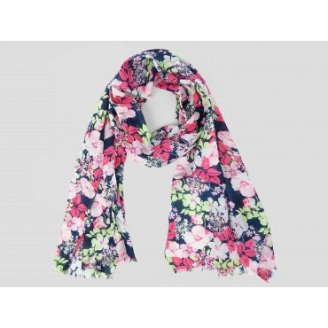 Modello - Sciarpe primaverili estive - sciarpa foulard di cotone blu con fiori rosa