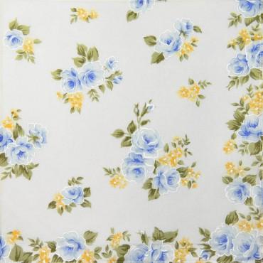 Variante blu - Giulia - fazzoletti di cotone da donna con stampe di rose su fondo avorio