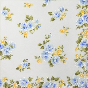 Light blue colorway - Giulia - handkerchiefs with rose prints on an ivory background