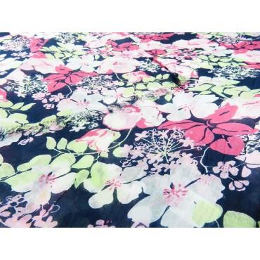Dettaglio - Sciarpe primaverili estive - sciarpa foulard di cotone blu con fiori rosa