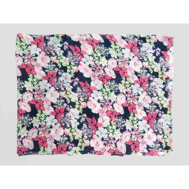 Pink flowers scarf with blue background - 100% cotton open