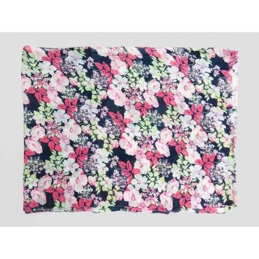 Piegata - Sciarpe primaverili estive - sciarpa foulard di cotone blu con fiori rosa