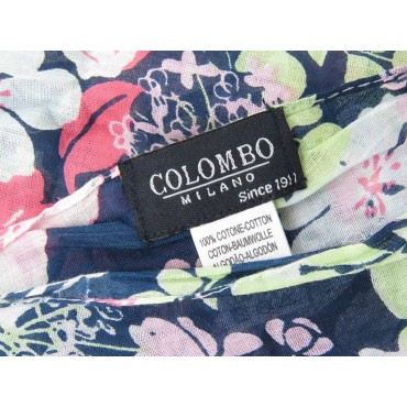 Pink flowers scarf with blue background - 100% cotton label