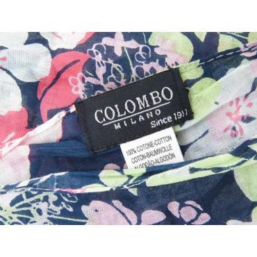 Etichetta - Sciarpe primaverili estive - sciarpa foulard di cotone blu con fiori rosa