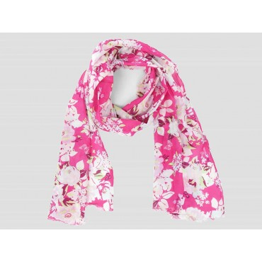 Pink floral scarf - 100% cotton