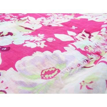 Pink floral scarf - 100% cotton detail