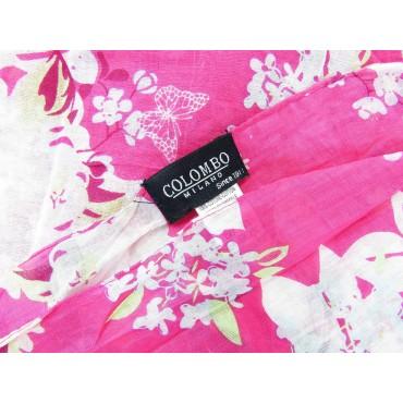 Etichetta - Sciarpe primaverili estive - sciarpa foulard di cotone floreale rosa