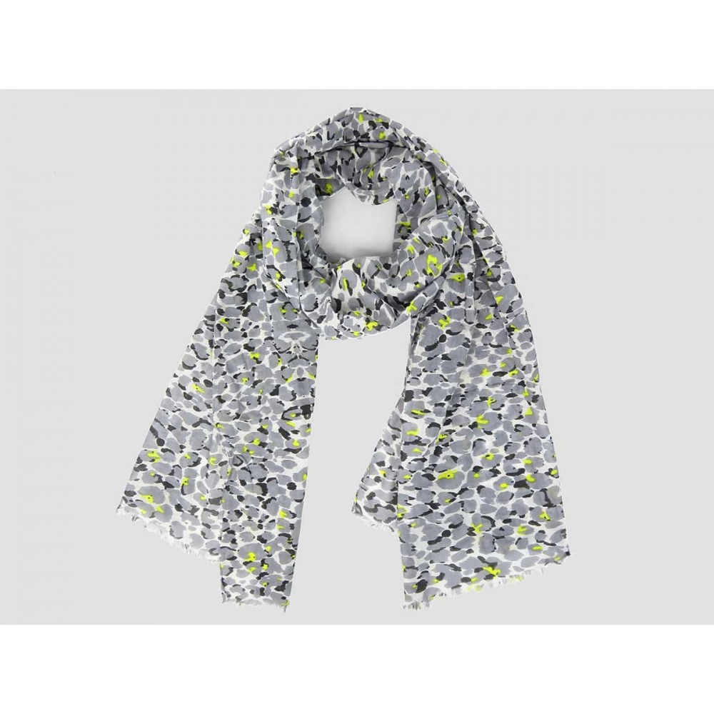 Gray leopard scarf - 100% cotton